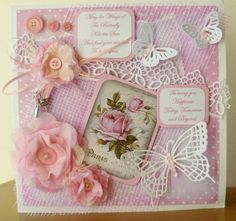 Butterfly bliss   Handmade roses from non woven fabric with mesh fabric overlay, vintage rose tag, and butterflies