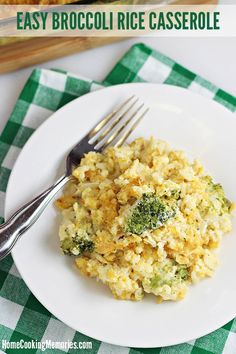 Easy Broccoli Rice Casserole recipe -- the ultimate comfort food! It's filling, great for potlucks, and easy to make for dinner or holiday parties