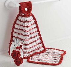 Red Rose Kitchen Set free crochet pattern