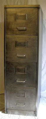 Retro Furniture: Vintage Retro 4 Drawer Filing Cabinet Polished Metal