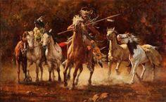 Howard Terpning, Captured Ponies, oil, 30 x Scottsdale Art Auction. Native American Girls, American Indian Art, Howard Terpning, Fine Art Auctions, Le Far West, Native Art, Native Indian, Global Art, Western Art