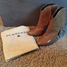 Burberry ankle boots Brand new Burberry ankle boots. Comes with dust bag but no box. Given to my aunt as a gift and has sat in her closet ever since. Color on the tag says tan. Size 39. Some tiny indents from trying on and walking around on the soles. Will take more pictures/answer any questions :) zippers are very hard to move-will need to be broken in **MORE PICS ON SEPARATE LISTING Burberry Shoes Ankle Boots & Booties