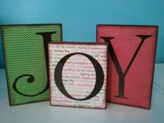 I want to do this for Christmas with different words on scrapbook paper!