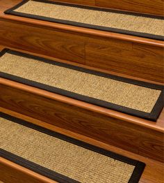 Carpet Stair Treads And Rugs 9 X 29   Studio Sisal Natural Fiber, Black  Cotton Binding