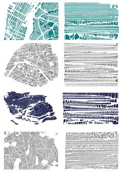 """French artist Armelle Caron has satisfied this curiosity in ""Tout bien rangé,"" an assembly of what Caron calls ""graphic anagrams"" of well-known cities. The series, whose title translates roughly as ""All in order,"" is composed of digital images of cities printed on canvas — cities whole and cities disassembled, catalogs of parts for some Borgesian Ikea project."""