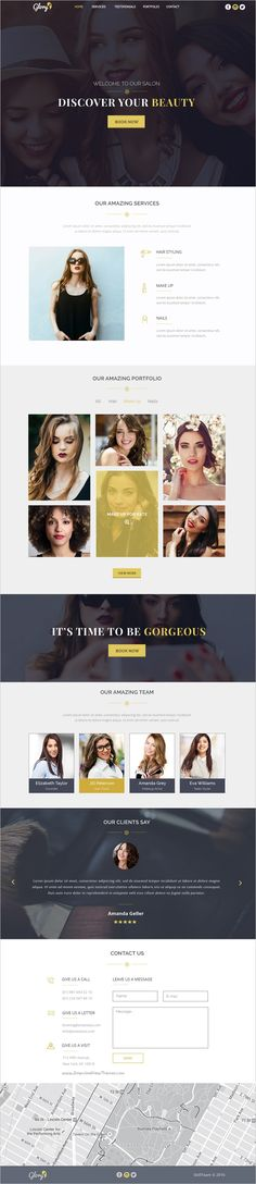 Glory is a clean and modern design #PSD template for one page #beauty #salon websites download now➩ https://themeforest.net/item/sia-beauty-salon-one-page-psd-template/19178015?ref=Datasata