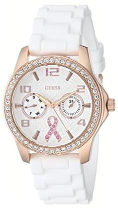GUESS Women's U0032L3 Rose Gold-Tone Breast Cancer Awareness Watch with White Silicone Strap *** Find out more about the great product at the image link.