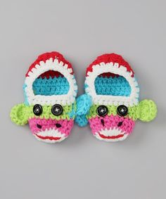 Lime Sock Monkey Crochet Booties by Welcome Baby: Apparel