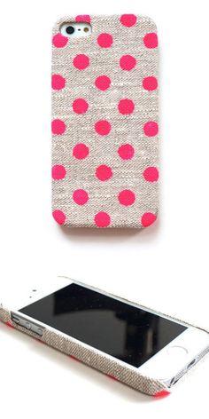 Polkadot handmade linen iPhone case. Perfect for summer.
