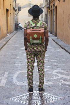 Via One Nigerian Boy tumblr, street fashion, backpack, print, mens fashion