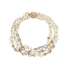 party pearl triple strand necklace