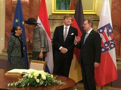 King Willem-Alexander and Queen Maxima of the Netherlands visit the old town of Erfurt, eastern Germany, along with the city's mayor Andreas Bausewein on February 8, 2017. Dutch royal couple is on a working visit to the German states of Thueringen, Saxony and Saxony-Anhalt from February 7 to 10.