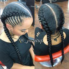 Best 12 Cornrows Hairstyles with 2 Braids Black Girl Braids, Girls Braids, 2 Big Braids, Big Cornrows, Box Braids Hairstyles, African Hairstyles, 2 Feed In Braids, Curly Hair Styles, Natural Hair Styles