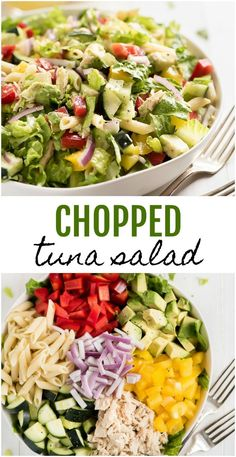 Chopped Tuna Salad is the perfect summer side dish. Filled with fresh crisp veggies the color of the rainbow, protein packed tuna, and tossed in a light and refreshing lemon vinaigrette. Healthy Food Choices, Good Healthy Recipes, Diet Recipes, Healthy Snacks, Healthy Eating, Cooking Recipes, Dinner Healthy, Canned Tuna Recipes, Dinner Salads