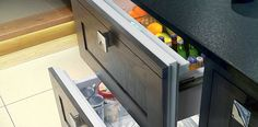Sub-Zero Undercounter Refrigerators fit the flow of your home, in any room. Explore our integrated refrigerator drawers, beverage centers, undercounter refrigerators, freezers and ice makers Fridge Freezer Uk, Freezer Storage, Undercounter Refrigerator, Built In Refrigerator, Fridge Drawers, Under Counter Fridge, Sub Zero Appliances, Drawer Dividers, Luz Led