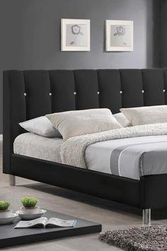 Vino Modern Bed with Upholstered Headboard - Black