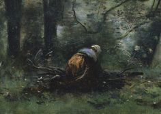 A Woman Gathering Faggots at Ville-d'Avray | ca. 1871–74 | Camille Corot (French) | Oil on canvas| The Metropolitan Museum of Art