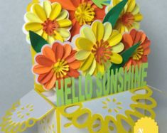 This is an adorable, fun and easy to cut and put together Sunshine Bouquet Card In A Box SVG. This card in a box really has a wow factor for Card In A Box, Pop Up Box Cards, Pop Up Flower Cards, Card Boxes, Card Kit, Exploding Box Card, Local Craft Fairs, Marianne Design, Folded Cards