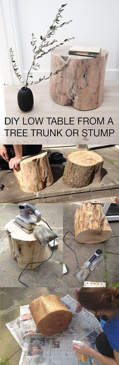 DIY How to make a low table or side table from a tree trunk or stump | Andrea Mongenie Interior and prop stylist based in London