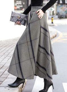 Buy Skirts, Online Shop, Women's Fashion Skirts for Sale - Floryday Modest Fashion, Hijab Fashion, Fashion Dresses, Fashion Clothes, Long Skirt Fashion, Apostolic Fashion, Feminine Fashion, Winter Skirt, Winter Maxi Skirts