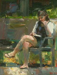 DARREN THOMPSON FINE ART: Reading #84. Reading #84 is part of the series to do with the female figure reading. I approach these paintings with abstract ideas in mind. A diagonal is created, starting with the bottom left of the figures foot, and runs to the top of the head where it stops. The only break along the path is the book the figure is holding.