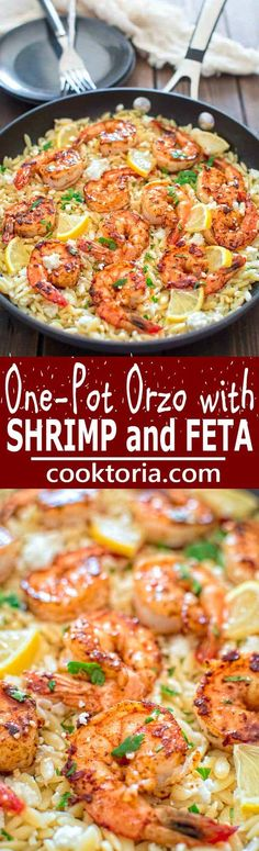 Very easy to make, yet unbelievably delicious, this One Pot Orzo with Shrimp and Feta is worthy of a special occasion!COM sea food pasta recipes Easy Orzo with Shrimp and Feta Orzo Recipes, Greek Recipes, Fish Recipes, Seafood Recipes, Chicken Recipes, Cooking Recipes, Healthy Recipes, Shrimp Dinner Recipes, Hallumi Recipes