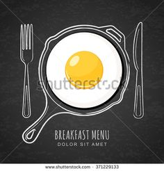 Fried egg and hand drawn outline watercolor pan, fork and knife on textured black board background. Vector design for breakfast menu, cafe, restaurant. Fast food background.