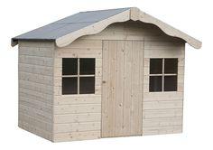 Caseta para niños de madera de abeto nórdico sin tratar de 2,02 x 1,59 x 1,58 m (ancho x alto x fondo) y 2,37 m2 de superficie total. Tiene techo asfáltico e incluye...