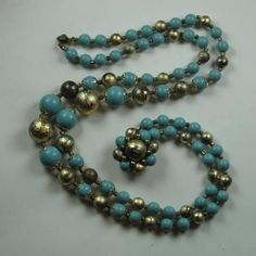 Double-strand Necklace ~ Turquoise Blue and Gold/Black Beads