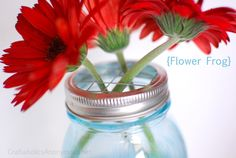 Flower arranging lids for mason jars. Yep, making these next week for sure!