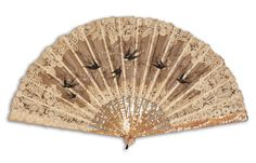Swallows, France, in mother of pearl, painted organza and lace Antique Fans, Fashion Vocabulary, Little Things, Hand Fans, Swallows, Pearls, Antiques, Lace, Patches