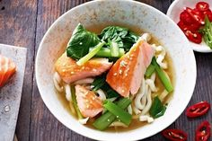 Miso broth with Sesame Salmon and Udon Noodle
