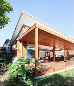 A large roof overhang and giant deck to maximise light coming in