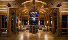 A Luxurious Log Home in Montana is on the Market | Dining Room