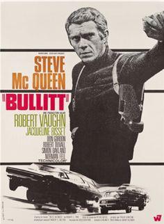 Movie poster by Michel Landi, 1968, 'Bullitt', Directed by Peter Yates, Starring Steve McQueen.