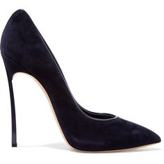 Casadei Suede pumps ($395) ❤ liked on Polyvore featuring shoes, pumps, heels, midnight blue, narrow shoes, slip-on shoes, high heel pumps, suede shoes and suede pumps