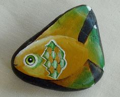 Petite+Painted+Fish+in+Yellow+Ochre+and+Green+by+NightingaleArts,+$17.00