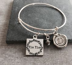 YIAYIA, Greek, Grandma, Grandmother, Silver Bracelet, Gifts for, Yiayia Gift, Silver Jewelry, Grandma Charm Bracelet, New Grandma, Gifts by SAjolie, $23.75 USD