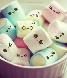 Kawai marshmallows - How unbelievably scary would this be... just sippin your hot chocolate, you look down.... WHOA THE MARSHMALLOWS HAVE FACES!!! It'd be like drowning little squishy square people....