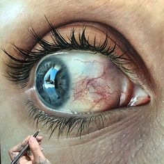"hyperrealism: ••Kit King 2015 ""Hyperaemia""••paints eyes close up for their expressive details, adding distressed dimension, capturing fleeting moments of emotion of life, for a heightened sense of reality • Oil on wood panel 46cm sq • http://www.kitkingart.com"