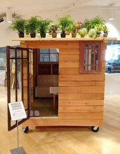 Muji Mobile Garden House, Gardenista - The Mobile Garden House by Japanese architect and artist Kyohei Sakaguchi came to life in San Francisco this summer during a DIY workshop at the J-Pop Summit Festival (a Japanese pop-culture street fair).  Sustainable, economical and elegantly functional, the Mobile Garden House is part of Sakaguchi's ongoing Zero Yen House art project inspired by homeless people's structures built on the streets of Tokyo.