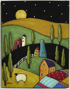by Karla Gerard ♥ Folk art ♥ Art Fantaisiste, Pintura Country, Folk Embroidery, Embroidery Designs, House Quilts, Art Et Illustration, Arte Popular, Naive Art, Whimsical Art