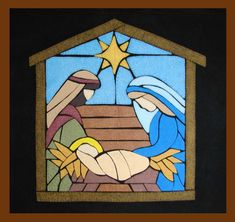 Christmas Yard Art, Christmas Ornament Crafts, Christmas Nativity, Xmas, Nativity Painting, Quilted Gifts, Church Banners, Mosaic Glass, Stained Glass