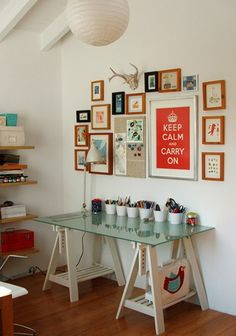 My craft desk!  It's in the basement, embarrassingly underutilized... perhaps I need to dress it up with some fun wall prints, as seen here, and a colorful Eames chair.  Then I will surely begin sewing!  ;)