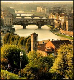 Overlooking the Arno in Florence Italy
