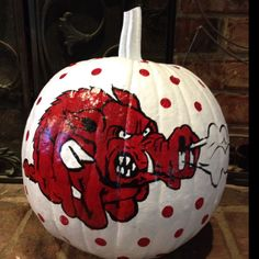 Painted razorback pumpkin! Go Hogs!