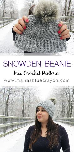 The snowden crochet Beanie is stunnning. The texture of the super warm piece is topped off with a faux fur pom pom on top for extra flare. This crochet hat is perfect for gifts. And its a free pattern! Bonnet Crochet, Crochet Beanie Pattern, Crochet Baby, Knit Crochet, Crotchet, Headband Pattern, Easy Crochet Hat, Crochet Dolls, Crochet Adult Hat