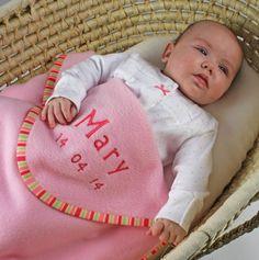 Baby blue spotty trim, script embroidery