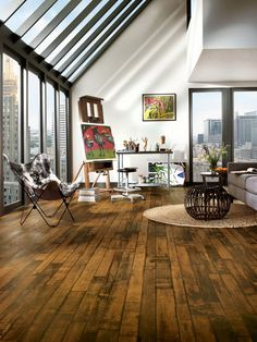 Vinyl floor that looks like wood! Waterproof, easy care. Great for bathrooms, I think.