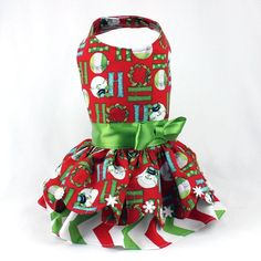 Items similar to Dog Dress for the Christmas Holiday, Custom Made: Dog Harness Ruffle Dress features a Snowman Print on Red Background on Etsy Ruffle Dress, Ruffles, Dog Clothes Patterns, Sewing Patterns, Designer Dog Clothes, Aprons Vintage, Dog Dresses, Dog Harness, Holiday Dresses